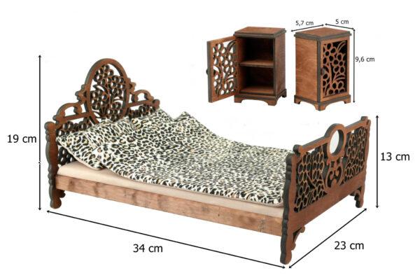 Łóżko drewniane dla lalek JESSICA Kasztan XL wymiary 1