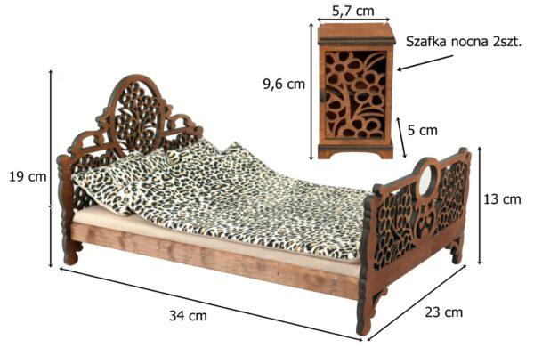 Łóżko drewniane dla lalek JESSICA Kasztan XL wymiary 2