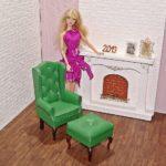 Fotel uszak dla lalki zpodnóżkiem GREEN DARK