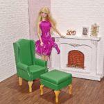 Fotel uszak dla lalki zpodnóżkiem GREEN LIGHT
