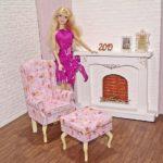 Fotel uszak dla lalki zpodnóżkiem PINK LIGHT