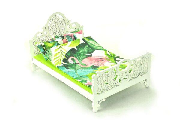 Łóżko zielone liście i flaming 1
