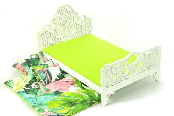 Łóżko zielone liście i flaming 2