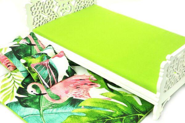 Łóżko zielone liście i flaming 3