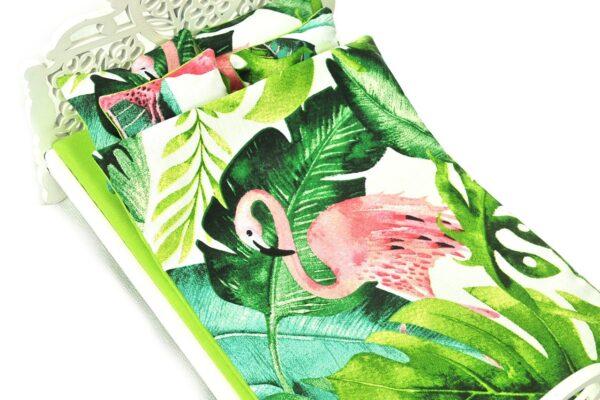 Łóżko zielone liście i flaming 4
