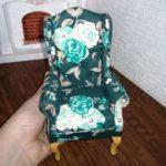 Fotel zielony kwiaty 1