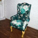 Fotel zielony kwiaty 2